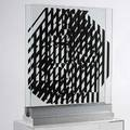 Victor vasarely frenchhungarian 19061997 nethe ca 1964 oil on two pieces of plate glass set in a metal base 3 apart signed titled and numbered 15 29 x 24 glass each metal base 2 h