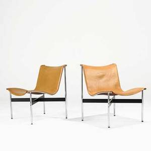 Katavalos littell and kelley laverne international pair of lounge chairs usa 1950s chromed and enameled steel saddle leather unmarked 30 x 23 x 26 12