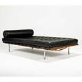 Mies van der rohe knoll international daybed usa 1970s leather walnut stainless steel upholstery label 25 x 78 x 39