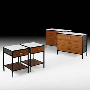 George nelson herman miller pair of steelframe dressers and nightstands zeeland mi1950s laminate enameled steel walnut chromed metal nightstands and one dresser have metal labels dressers