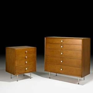 George nelson herman miller two dressers zeeland mi 1950s walnut aluminum foil labels larger 41 x 40 x 18 12 smaller 31 x 24 x 18 12