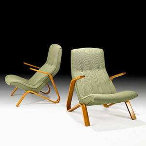 Eero saarinen knoll associates pair of grasshopper lounge chairs usa 1960s birch laminate upholstery unmarked 35 x 26 12 x 34