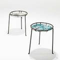 Donald monell lila swift pair of side tables gloucester ma 1950s enameled steel enameled copper iron leather unmarked 18 x 17 dia note their designs were exhibited at the furniture fo