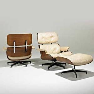 Charles and ray eames herman miller two lounge chairs and single ottoman no 670 671 zeeland mi 1970s rosewood leather enameled aluminum enameled steel rubber herman miller upholstery la