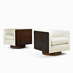 Milo baughman thayer coggin pair of club chairs high point nc 1970s leather brazilian rosewood unmarked 25 12 x 28 sq