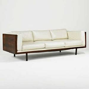Milo baughman thayer coggin threeseat sofa high point nc 1970s leather brazilian rosewood unmarked 28 x 84 12 x 36