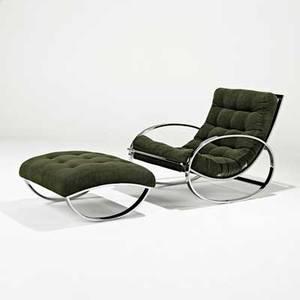 Milo baughman thayer coggin rocking chair and ottoman high point nc 1970s chromed steel microfiber unmarked chair 31 x 27 34 x 44 ottoman 15 x 26 x 27