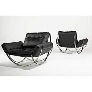 Milo baughman thayer coggin pair of lounge chairs high point nc 1970s chromed steel leather unmarked 31 12 x 42 x 41
