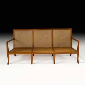 Th robsjohn gibbings widdicomb threeseat sofa grand rapids mi 1950s mahogany cane upholstery unmarked 29 14 x 65 14 x 31