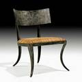 Ched berenguertopacio klismos lounge chair philippines 1990s patinated wrought iron brass woven cane unmarked 29 12 x 21 14 x 24 12