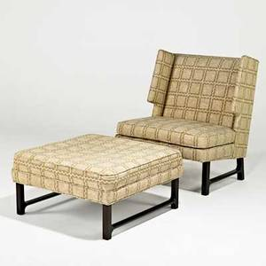 Edward wormley dunbar lounge chair and ottoman berne in 1960s upholstery stained mahogany chair 38 x 31 x 31 ottoman 16 x 31 sq