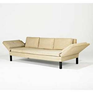 Edward wormley dunbar droparm sofa berne in 1950s upholstery ebonized wood brass unmarked 28 12 x 78 x 31