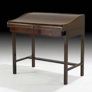 Edward wormley dunbar tambour desk usa 1950s lacquered mahogany rosewood brass leather brass label 35 x 36 x 24