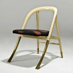 Edward wormley dunbar a chair no 5481 berne in 1950s painted mahogany brass silk upholstery unmarked 30 x 21 x 25