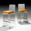 Charles hollis jones pair of waterfall bar stools usa 1970s acrylic brass plated metal upholstery unmarked 42 14 x 17 12 x 18