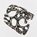 Modern biomorphic silver cuff unmarked 3 12 x 3 x 2 12 181 gs