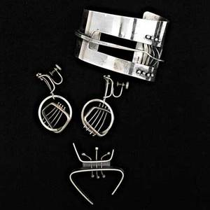 Ed wiener 19181991 sculptural sterling silver cuff bracelet pair of earrings and brooch new york 1950s bracelet and brooch both stamped ed wiener sterling earrings stamped sterling cuff 1