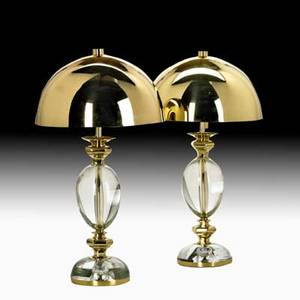 Gabriella crespi pair of table lamps italy 1970s brass glass two sockets stamped on base 21 x 12 dia