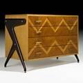 Louis paolozzi dresser france 1950s oak mahogany brass unmarked 33 12 x 48 12 x 23