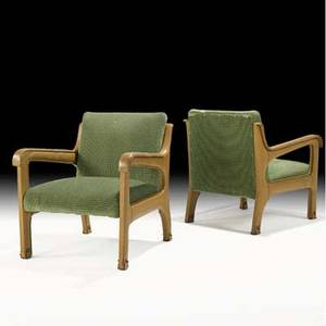 Jacques adnet pair of lounge chairs france 1950s stitched leather chenille brass unmarked 29 x 26 12 x 28 12