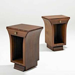 French pair of nightstands 1930s rosewood brass unmarked 25 14 x 18 x 14