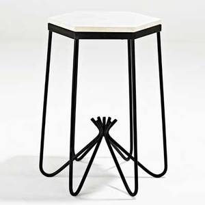 Jean royere hirondelle occasional table france 1950s enameled iron marble unmarked 25 x 20 sq