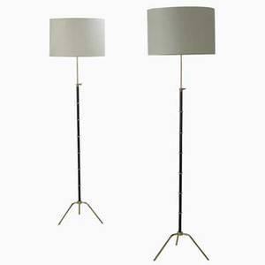 Arlus pr of floor lamps france 1960s brass enameled steel linen unmarked overall 67 12 x 18 dia