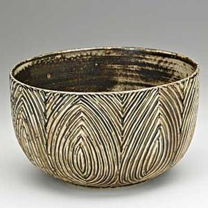 Axel salto royal copenhagen glazed stoneware bowl denmark 1960s incised salto three wavy lines 20569 with paper label 6 x 10 dia