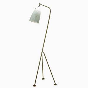 Greta magnusson grossman ralph o smith floor lamp usa 1950s enameled steel enameled aluminum brass unmarked 49 x 15 x 16