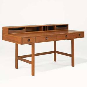 Lovig fliptop desk denmark 1960s flips open to become a partners desk teak branded closed 34 x 64 x 28 34 open 38 wide