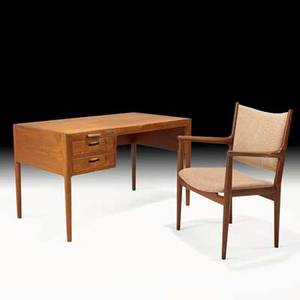 Hans wegner johannes hansen twodrawer desk with pullout return and chair denmark 1960s teak brass wool metal label to chair desk 29 x 49 x 28 chair 36 x 20 12 x 23