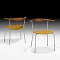 Hans wegner johannes hansen pair of armchairs no 701 denmark 1960s oak wenge matte chromed steel wool knoll distributor labels 27 x 24 12 x 19