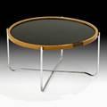 Hans wegner johannes hansen reversible tray table denmark 1960s laminate oak wenge chromed steel unmarked 13 x 25 12 dia