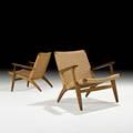 Hans wegner carl hansen  son pair of lounge chairs denmark 1950s oak cord foil label to one 28 x 28 x 28