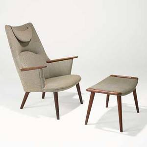 Hans wegner ap stolen lounge chair and ottoman denmark 1950s teak wool danish control label to ottoman stenciled 30 to chair chair 41 x 29 12 x 32 ottoman 16 14 x 28 x 16 34