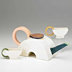 Peter shire b 1947 exp pottery handbuilt glazed earthenware teapot with two teacups los angeles ca 1976 signed and dated teapot 5 12 x 13 x 4 12