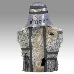 Studio ceramic rakufired female torso sculpture amourarmour ca 1990 unmarked 22 x 15 x 9 12