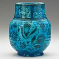 Carl walters 18831955 persian blue faience vase with animal and plant decoration usa 1930 signed and dated with horses head 7 12 x 6 publication forster alternative american ceramics