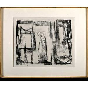 Ludwig r sander 19061975 untitled lithograph on paper new york 1960s framed and matted signed in image sight 17 x 21