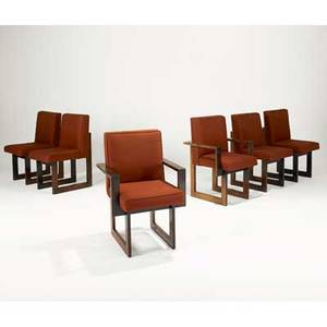 Vladimir kagan vladimir kagan designs inc set of six cubist chairs no 6724 6724a four side and two arm new york 1970s walnut upholstery unmarked 34 12 x 18 x 24 34 12 x 23 x 2