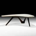 Vladimir kagan kagandreyfuss boomerang coffee table new york 1950s sculpted walnut travertine unmarked 14 x 51 x 43 12