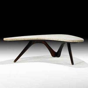 Vladimir kagan kagandreyfuss boomerang coffee table new york 1950s sculpted walnut travertine unmarked 14 x 51 x 43 12