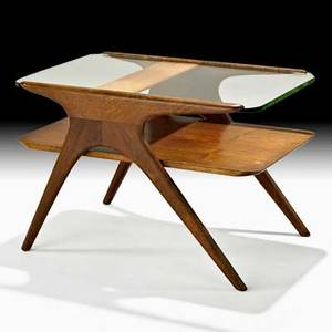 Vladimir kagan kagandreyfuss tiered side table new york 1950s sculpted walnut glass branded 20 x 30 x 20