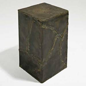 Silas seandel side table new york 1980s patinated welded and textured bronze signed 23 x 13 sq provenance purchased directly from the artist by consignor