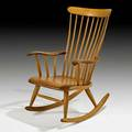 Robert whitley rocking chair solebury pa 1990 sculpted oak and teak signed and dated 40 12 x 26 12 x 32
