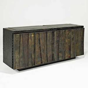 Paul evans directional deep relief cabinet usa 1962 welded and polychromed steel patinated bronze slate polychromed wood signed and dated 32 x 73 x 21 12