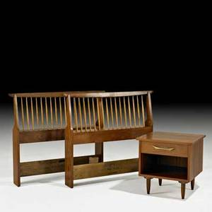 George nakashima widdicomb pair of origins twin headboards and one nightstand grand rapids mi 1960s walnut hickory brass fabric label paper label branded nightstand 22 12 x 22 x 21 h