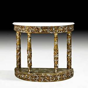James mont james mont design demilune console usa 1960s marble gilt wood unmarked 31 x 36 x 12