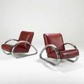 Kem weber lloyd manufacturing co pair of lounge chairs usa ca 1934 chromed steel leatherette painted maple unmarked 31 x 28 12 x 42