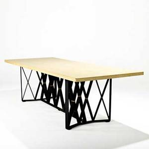 Paul frankl johnson furniture co dining table usa 1940s lacquered cork enameled steel brass unmarked 29 12 x 102 x 40